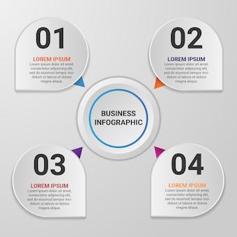 Elemento de infografía empresarial degradado con 4 opciones o pasos