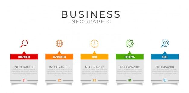Elemento de infografía empresarial con opciones, pasos