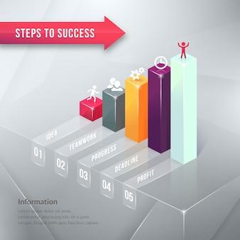 Elemento de infografía de gráfico de negocio coloreado camino al éxito aislado