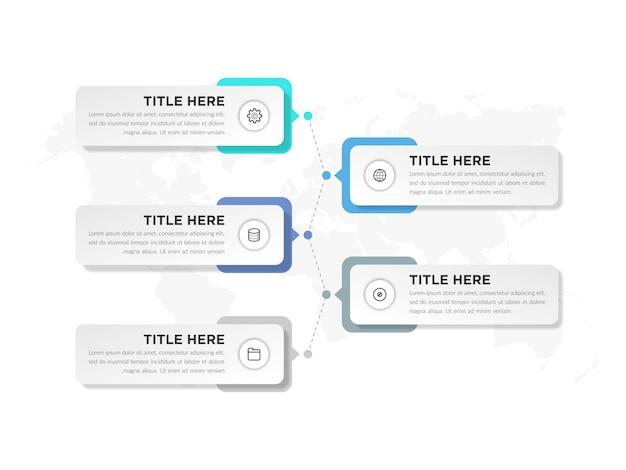 Elemento de infografía con icono para estrategia empresarial