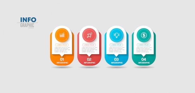 Elemento de infografía con iconos y 4 opciones o pasos. se puede utilizar para procesos, presentaciones, diagramas, diseño de flujo de trabajo, gráfico de información, diseño web.
