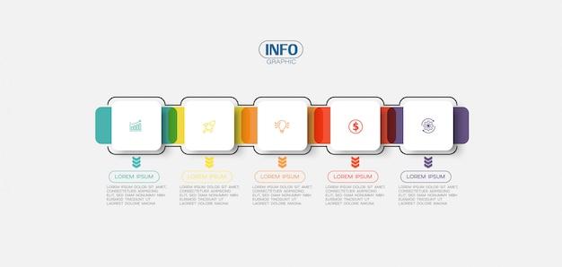 Elemento de infografía con iconos y 5 opciones o pasos.