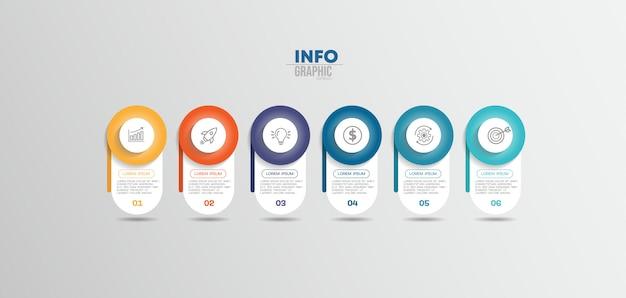 Elemento de infografía con iconos y 6 opciones o pasos. se puede utilizar para procesos, presentaciones, diagramas, diseño de flujo de trabajo, gráfico de información, diseño web.