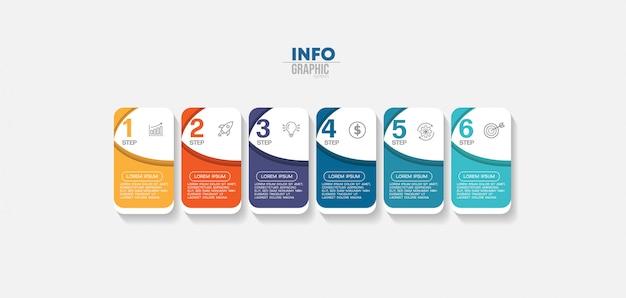 Elemento de infografía con iconos y 6 opciones o pasos.