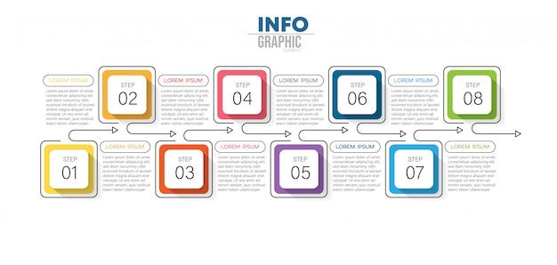 Elemento de infografía con iconos y 8 opciones o pasos.