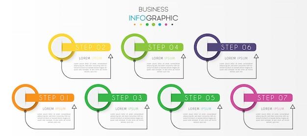 Elemento de infografía de línea de tiempo de círculo empresarial con opciones o pasos