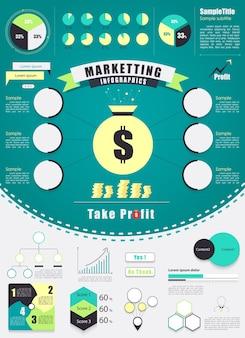 Elemento de infografía de marketing vintage