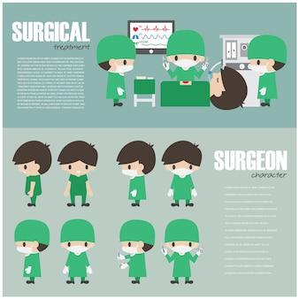 Elemento de infografía quirúrgica y conjunto de personaje de dibujos animados de cirujano