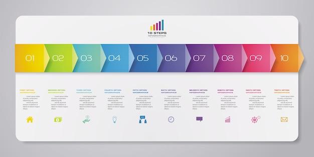 Elemento de infografías de línea de tiempo