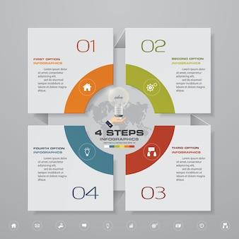 Elemento infográfico de 4 pasos para la presentación.