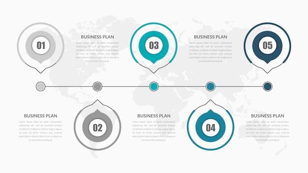 Elemento infográfico de cinco puntos para la estrategia empresarial