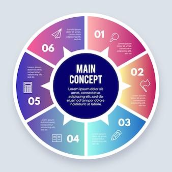 Elemento infográfico circular con opciones.