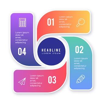 Elemento infográfico colorido con opciones