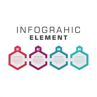 Elemento infográfico de cuatro pasos