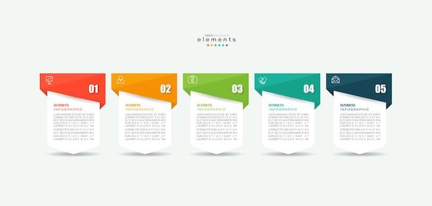 Elemento infográfico con iconos y 5 opciones o pasos.