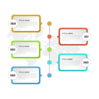 Elemento infográfico de la línea de tiempo de cinco puntos para la estrategia empresarial