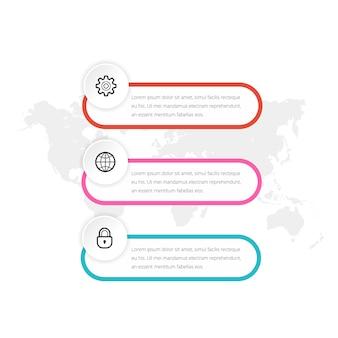 Elemento infográfico simple de tres opciones para la estrategia empresarial