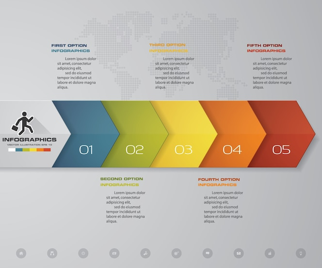 Elemento infographic de la flecha de la cronología de 5 pasos.