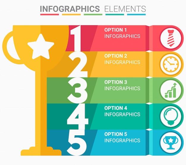 El elemento infographics resumen el diseño de la plantilla de la lista de los cinco primeros