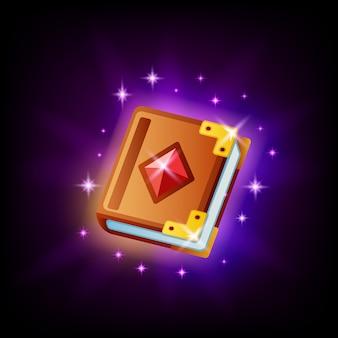 Elemento de interfaz de usuario de icono de libro de hechizos mágicos para diseño de juegos o aplicaciones móviles sobre fondo oscuro. icono de cuento de hadas en estilo de dibujos animados