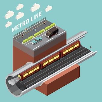 Elemento isométrico de la red de infraestructura urbana con línea de metro subterráneo, túnel de metro y calle de la ciudad arriba