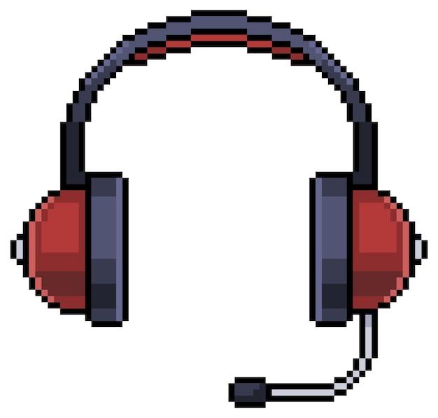 Elemento de juego de bits de auriculares de auriculares de pixel art sobre fondo blanco