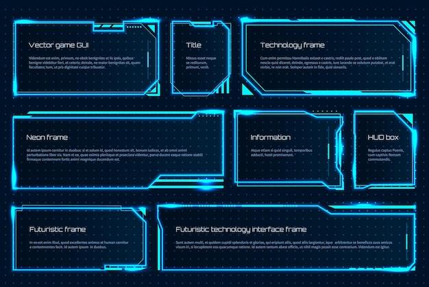 Elemento de juego de hud. plantilla de pantalla de tecnología futurista con mensajes de texto, marco de tecnología de advertencia. holograma de interfaz de atención vectorial para la gestión del espacio de juegos