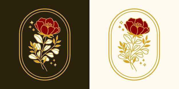 Elemento de logotipo de flor rosa botánica vintage dibujado a mano