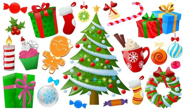 Elemento de navidad colorido de dibujos animados