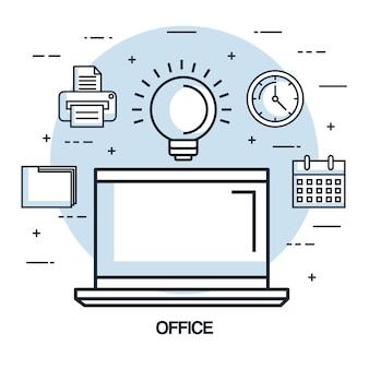 Elemento de negocio de trabajo de idea de laptop de oficina