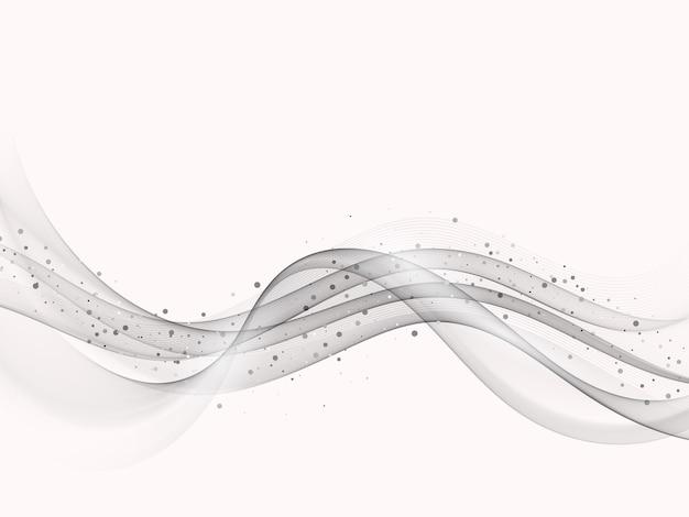 Elemento de onda gris con efecto brillo fondo de flujo de onda gris