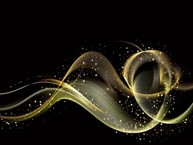 Elemento de onda de oro de color brillante abstracto con efecto de brillo sobre fondo oscuro.