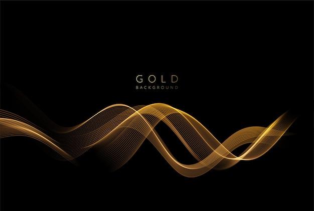 Elemento ondulado dorado brillante abstracto con efecto brillo. onda de flujo de oro sobre fondo oscuro.