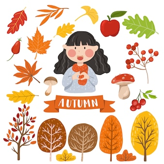 Elemento de otoño aislado