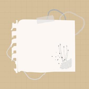 Elemento de papel blanco de vector de nota digital en estilo memphis