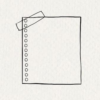 Elemento de papel de color de vector de nota digital en estilo dibujado a mano en textura de papel