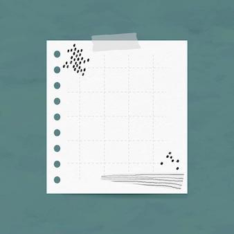 Elemento de papel de cuadrícula de vector de nota digital en estilo memphis