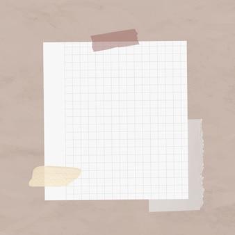Elemento de papel de cuadrícula de vector de nota digital