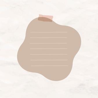 Elemento de papel rayado marrón de vector de nota digital
