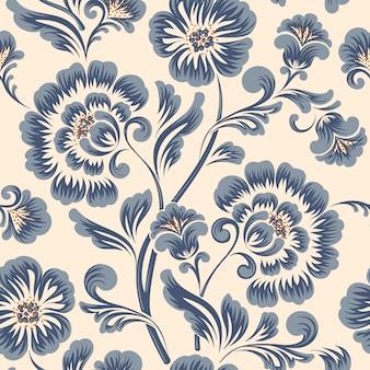 Elemento de patrón de flores antiguo de lujo clásico