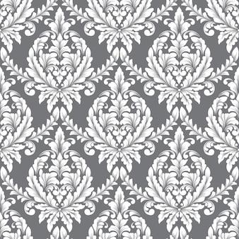 Elemento de patrón transparente damasco de vector. adorno de damasco antiguo de lujo clásico, estilo victoriano real