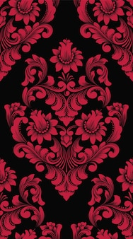 Elemento de patrón transparente damasco de vector. adorno de damasco antiguo de lujo clásico, fondos de pantalla sin costuras victorianas reales, textiles, envoltura.