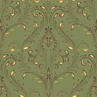 Elemento de patrón transparente damasco de vector. adorno de damasco antiguo de lujo clásico, textura perfecta victoriana real para fondos de pantalla, textiles, envoltura. exquisita plantilla barroca floral.