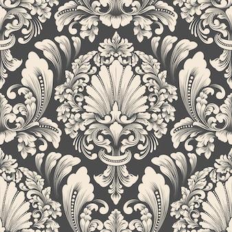 Elemento de patrón transparente damasco de vector. adorno de damasco antiguo de lujo clásico, textura perfecta victoriana real para fondos de pantalla, textiles, envoltura.