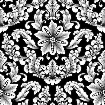 Elemento de patrón transparente damasco de vector.