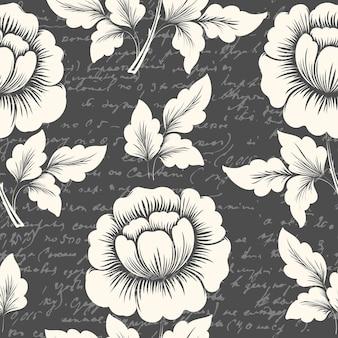 Elemento de patrón transparente de flor de vector con texto antiguo.