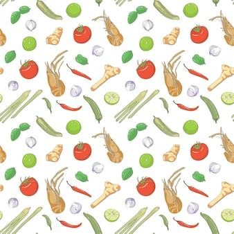 Elemento de patrones sin fisuras tom yam kung, sopa tailandesa picante con camarones
