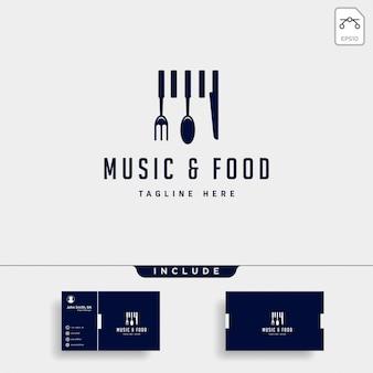 Elemento plano del icono del ejemplo del logotipo de la comida de la música