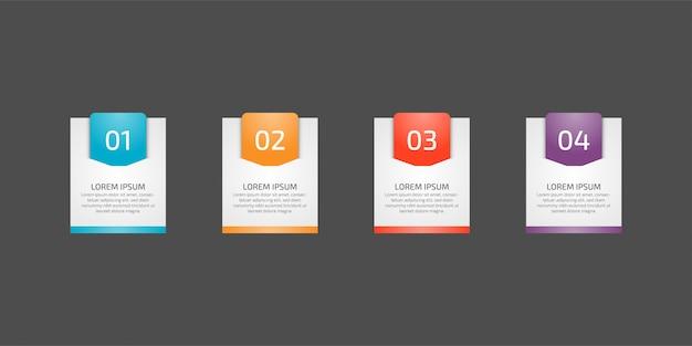Elemento de plantilla de infografía para gráficos, cuadros, diagramas, opciones de negocios o web. creativo con cuatro opciones, pasos o procesos.