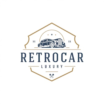 Elemento de plantilla de logotipo de coche clásico estilo vintage